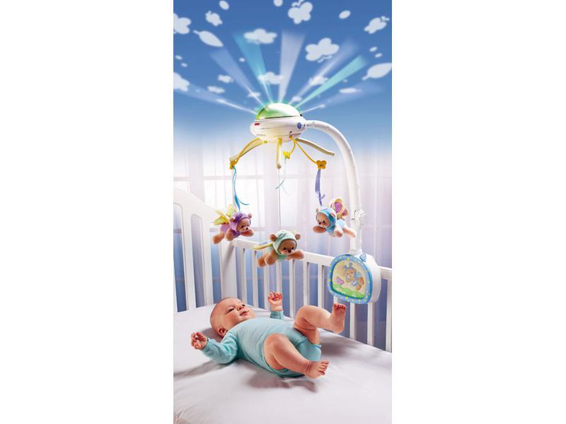 """Каруселька - мобиле """"Мечты о бабочках"""" с ДУ, световой проекцией и мягкими игрушками (Fisher-Price c0108, L0527)"""